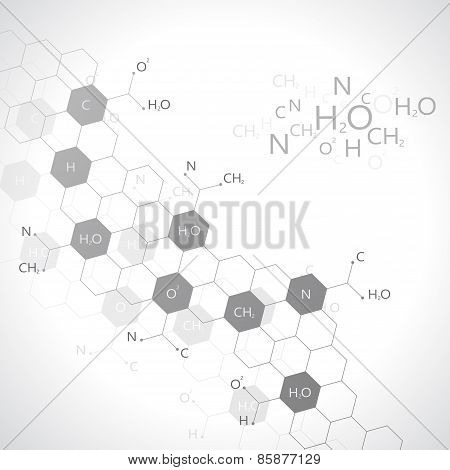 Dna molecule on gray background. Graphic background for your design and your text.Vector Illustratio