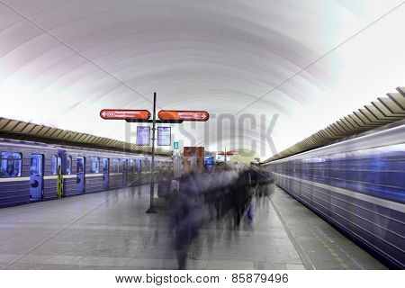 Passengers Are On Platform At  Underground Station In  Russian Subway.
