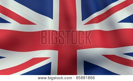 3D rendered waving British flag
