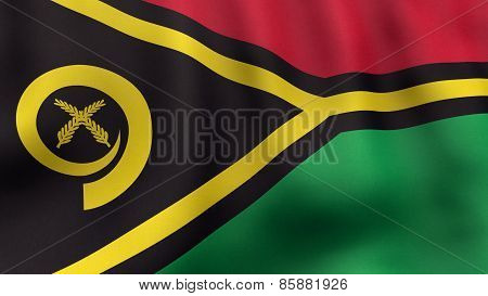 3D rendered waving Vanuatuan flag
