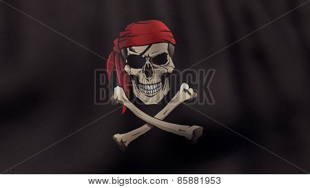 3D rendered waving Jolly Roger pirate flag in color