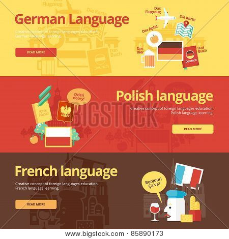 Flat design banners for german, polish, french. Foreign languages education concepts for web banners