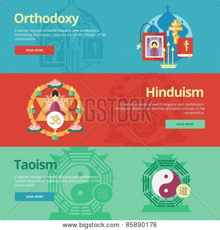 Flat design banner concepts for orthodoxy, hinduism, taoism. Religion concepts for web banners and p