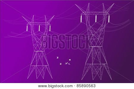 Electrical Posts In Colored Background