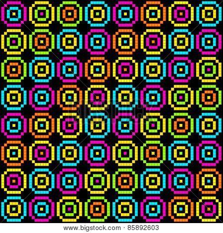 8-bit Pixel Retro Circles Pattern. Eps8 Vector