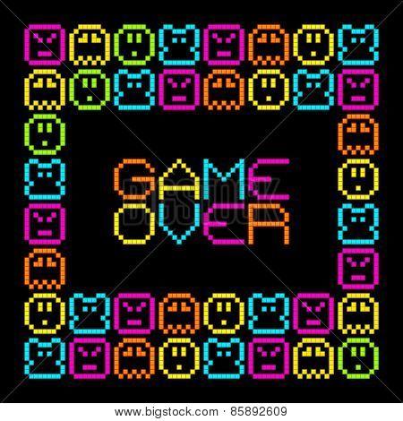 8-bit Pixel Retro Arcade Game Over. Eps8 Vector