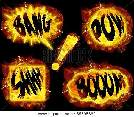 Fire bang boom pow shhh and exclamation mark ! poster