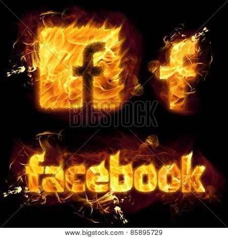 Facebook Logo On Fire