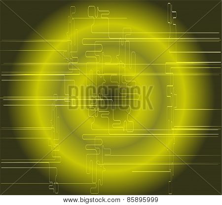 Abstract dark green technical circle background