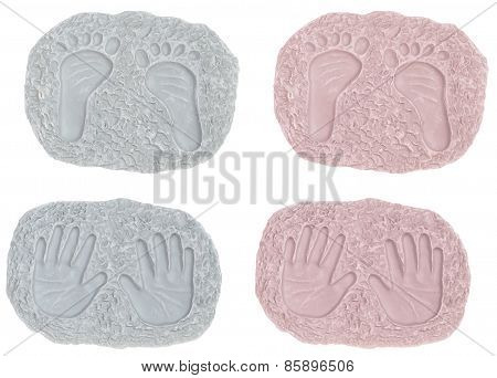 Baby Girl and Boy Footprints and Hand Prints
