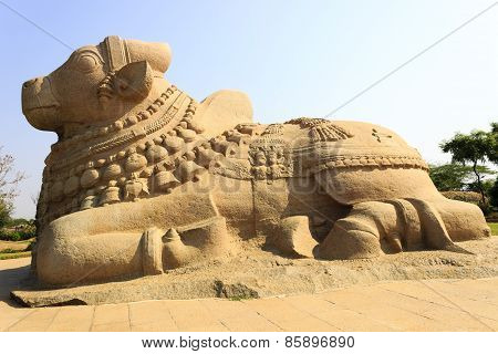 Close-up view of a gigantic sacred Bull of Lord Shiva called Nandi captured at Lepakshi