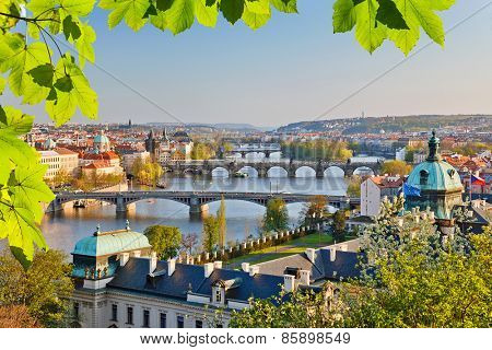View on Vltava river and Prague at sunset