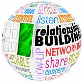 Relationship Building words on a ball or sphere to illustrate networking and meeting new people in job, career, life or organizations poster