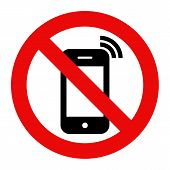 Mobile Phone prohibited. No cell phone sign isolated on white background poster