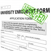 University enrollment form with green approved rubber stamp poster