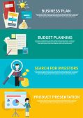 businesswoman presenting development and financial planning on meeting conference. Product presentation. Search for investors concept. Business plan concept icons in flat style. Budget planning concept poster