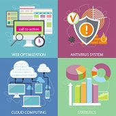Charts graphs and parameters. Statistic business concept of analytics. Shield antivirus. Antivirus system. Cloud services concept. SEO optimization, programming process and web analytics elements in flat design poster