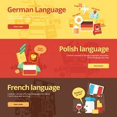 Set of flat design concept icons for foreign languages. Icons for english, german, french and polish. poster