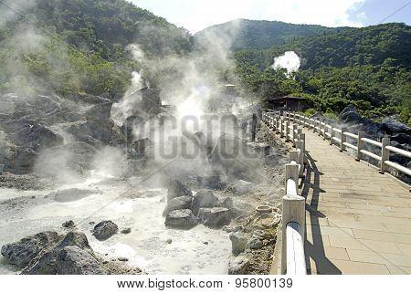 Strewn rocks with steam