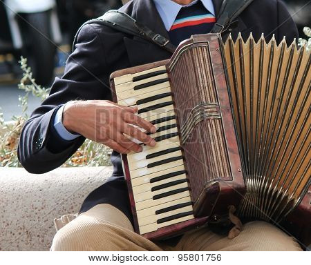 Accordion being played accordionist