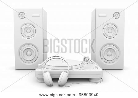 Record Player, Headphones And Speakers On White Background
