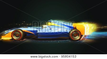 Race Car With Light Trail