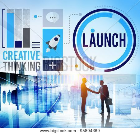 poster of Launch New Business Inauguration Begin Start Concept