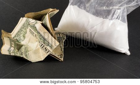 Big Bag Of Cocaine And Crumpled Us Dollars