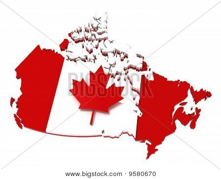 Canada, Map with Flag, with Clipping Path