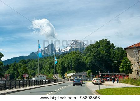 BERCHTESGADEN, GERMANY - JUNE 22: Scenic View of Watzmann Mountain, Largest Mountain in Germany, as seen from Road within Village of Berchtesgaden, Bavarian Alps, Germany on June 22, 2015