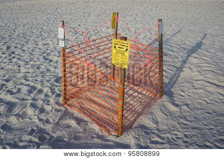 JACKSONVILLE BEACH, FL. USA - JULY 11, 2015: A Loggerhead Sea Turtle nest on Jacksonville Beach. Florida is the second largest nesting area in the world for the Loggerhead Sea Turtle.