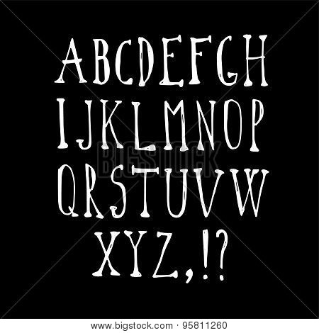 Chalk Sketched Font, Isolated Vector Alphabet Upper Case Letters
