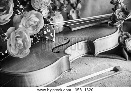Violin And Bow With Flowers