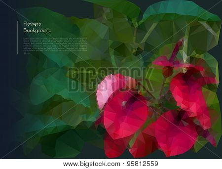 Flower polygonal mosaic. Vector eps 10