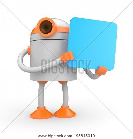 Robot holding a sign