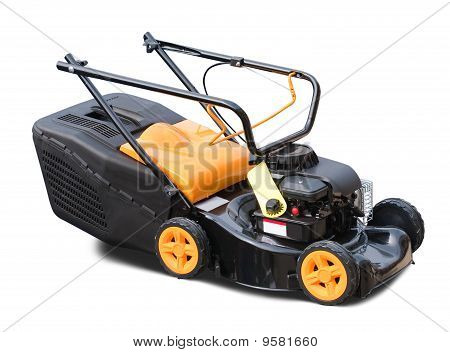 yellow lawn mower. Isolated over white background poster