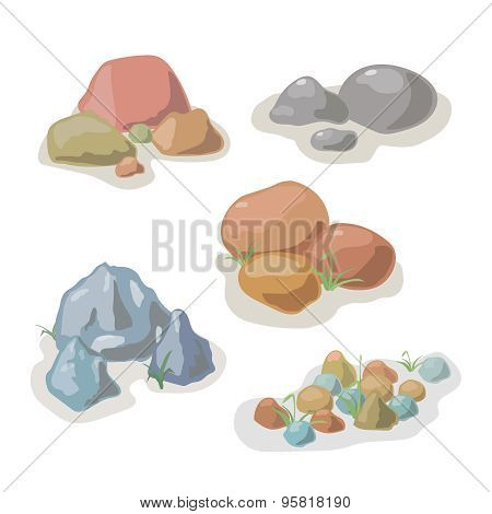 Stone and rock collection vector set