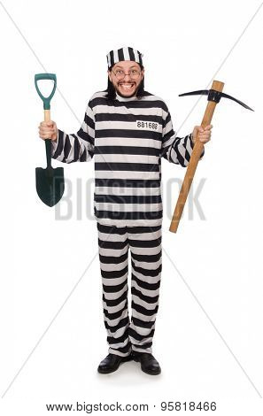 Prison inmate with axe and spade