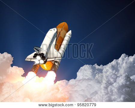 Space Shuttle Launch. 3D