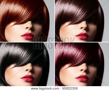 Collage of a beautiful young woman , with natural straight glossy hair , mixed color , concept hairstyle