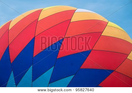 vibrant pattern of inflated hot air balloon