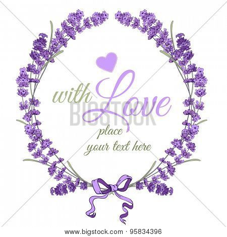 Gentle vintage card with hand drawn floral wreath in engraving style - fragrant lavender. Vector illustration.