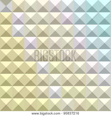 Low polygon style illustration of light khaki yellow abstract geometric background. poster