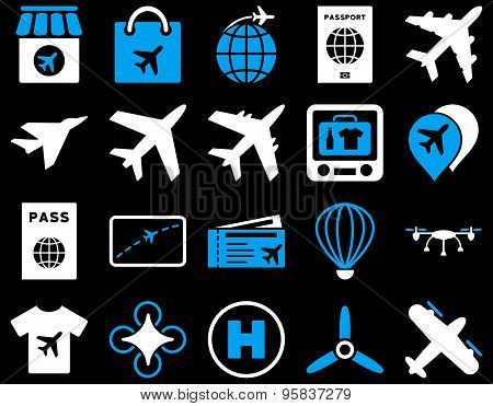 Airport Icon Set. These flat bicolor icons use blue and white colors. Vector images are isolated on a black background. poster