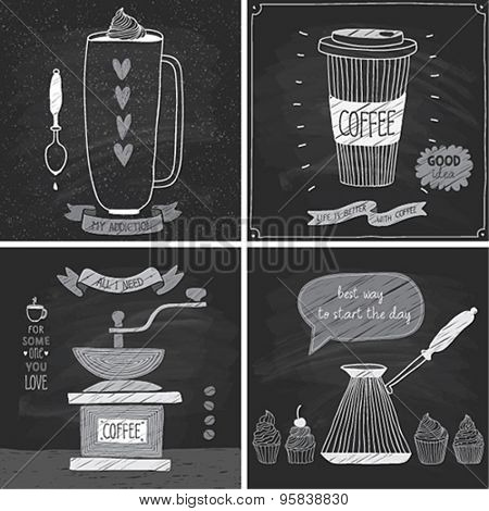 Coffee cards - Chalkboard style. Vector illustration.