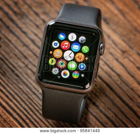 PRAGUE, CZECH REPUBLIC - June 22, 2015: Close-up of Apple Watch. Multiple Apps View.