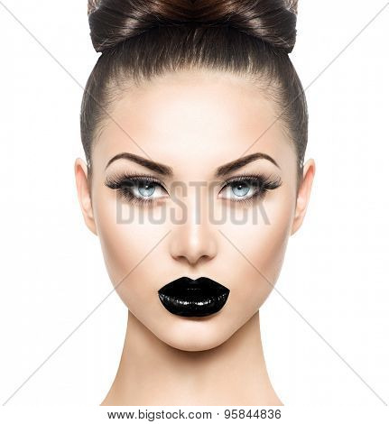 High Fashion Beauty Model Girl with Black Make up and Long Lushes. Black Lips. Dark Lipstick and White Skin. Vogue Style Portrait isolated on white background