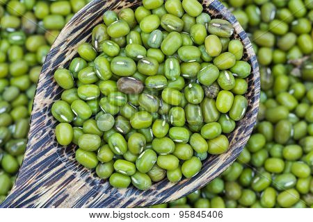 Green Bean Or Mung Bean In Wooden Spoon