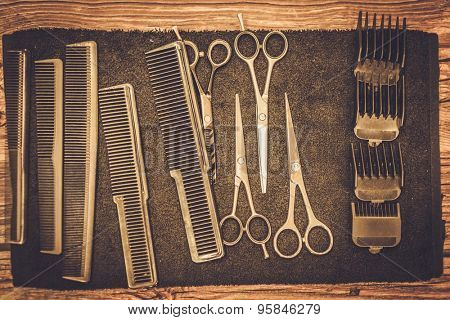 Hairstylist's accessories in barber shop