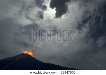 Night Eruption. Tungurahua Volcano, Ecuador